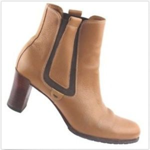 Cole Haan Tan Leather Pull On Ankle Heels Boots
